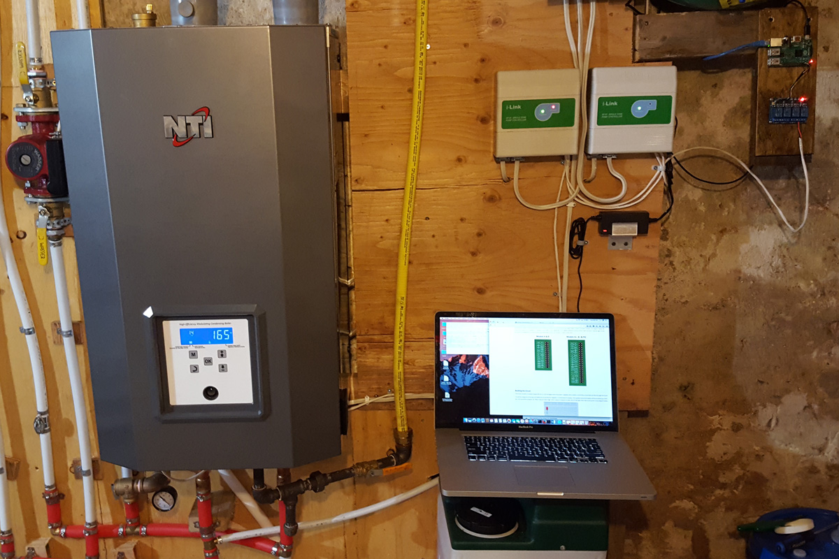 Heating System Control With A Raspberry Pi Part 2 Wiring And Code Relay Board Note The Red Light On Left Ilink Controller Water Output Temperature Furnace 165 Degrees