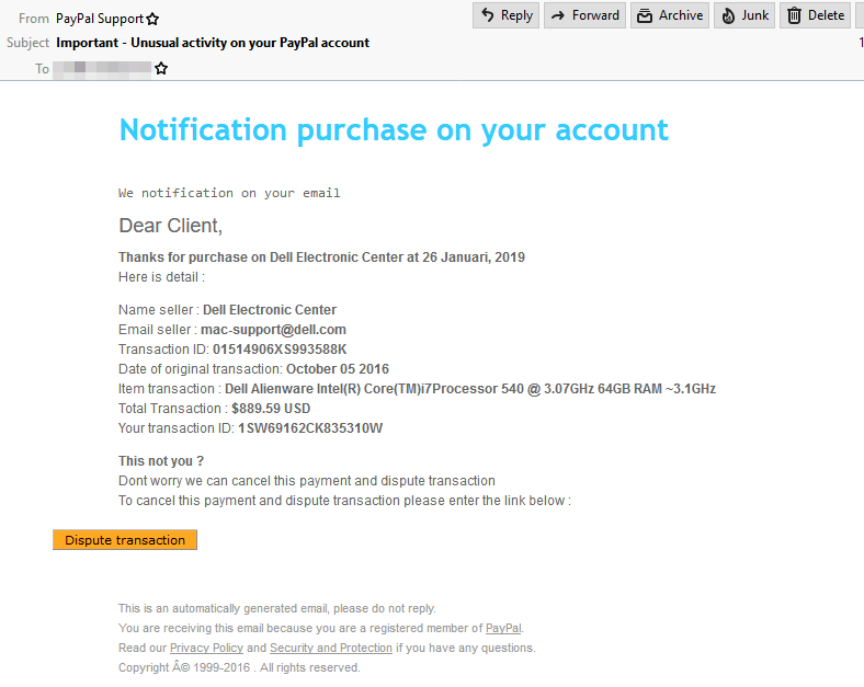 "Screenshot of notification email from ""Paypal"""