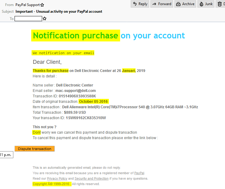 Fake paypal email screenshot with glaring faults highlighted