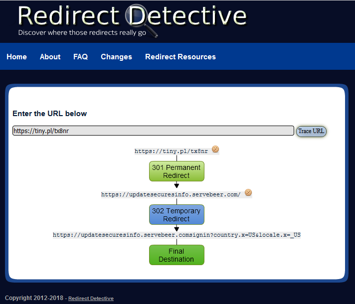 Screenshot of Redirect Detective