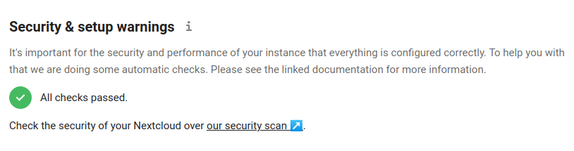 NextCloud All Checks Passed