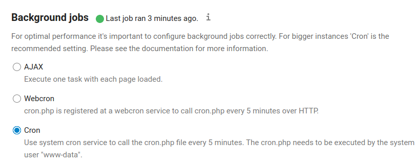NextCloud Cron setting