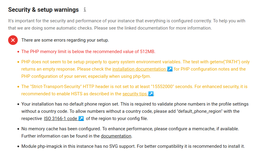 NextCloud Overview page with setup warnings
