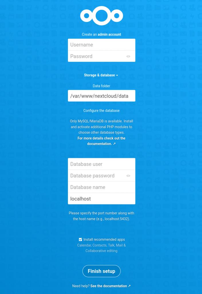 NextCloud setup welcome screen
